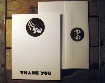 Vintage Gran Prix Custom Design Letterpress Thank You Cards with Envelopes
