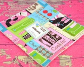 Eco Friendly Washcloth or Cloth Wipes with Soft Terrycloth -Set of 2 in Cooking Chef Pink Turquoise Green Fabric