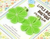 Baby Toddler Hair Clip/Bow Set of 2 Bright Lime Green Felt Flowers