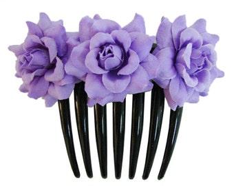 Purple Lavender  Rose flower Hair Comb Wedding