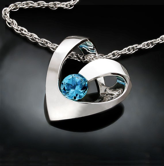 Swiss Blue Topaz Necklace Heart Necklace December