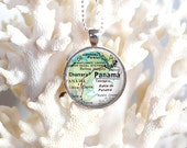 PANAMA- Map Pendant, Necklace, with Glass Cabochon