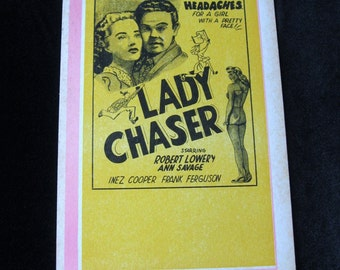 Lady Chaser Movie Theater Card Orig 1946 Headaches For a Girl Robert Lowery Ann Savage