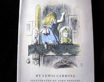 ALICE IN WONDERLAND Softcover  1950 Vintage Book Through the Looking Glass Lewis Carroll Illustrated by John Tenniel