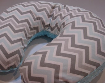 Nursing Pillow Cover,Baby Boppy Cover,  Mist Chevron Blue and Gray Chevron, You Choose Minky Color