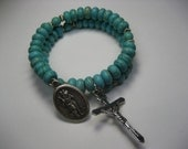 Memory Wire Rosary Bracelet - Magnesite Turquoise