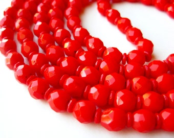 "Vintage 20s 30s Cherry Red Czech Glass Faceted Bead 55"" Long Flapper Girl Necklace"