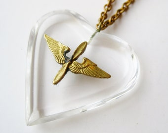 Vintage 40s Army Air Corps Pilot Aviator Lucite Heart Sweetheart Pendant Necklace
