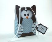 Woodland Owl Favor Bag Printable PDF, Blue & Chocolate Brown Gift Bag Template, Instant Download