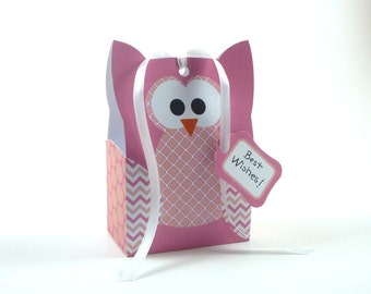 50% Off - Printable DIY Owl Gift Bag Template, Pink Owl, Party Favor Template