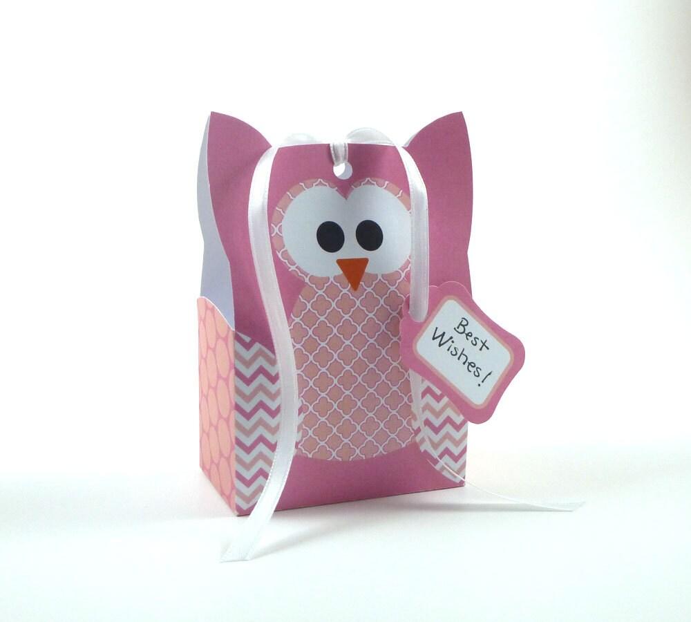 printable diy owl gift bag template pink owl party favor. Black Bedroom Furniture Sets. Home Design Ideas
