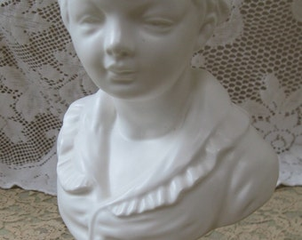 bisque boy bust victorian boy napco ceramics made in japan  shabby romantic french apartment