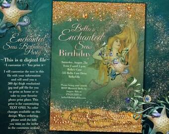 Mermaid Invitations, Mermaid Party, Mermaid Pool Party, Mermaid Birthday Party Invitations