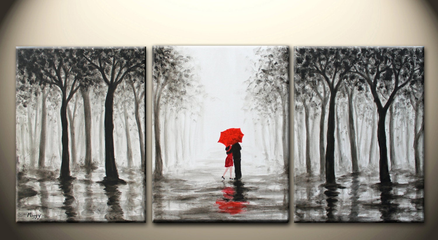 original abstract painting kissing in rain black white