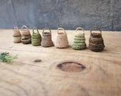Miniature elf's baskets, home decor, natural, hand crochet, doll house, set of 7