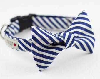 Navy Ivory Stripes Bow Tie Dog Collar