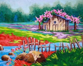 Art, Oil Painting, Landscape, Country life, Original Art, Landscape on Canvas by Rebecca Beal on Sale