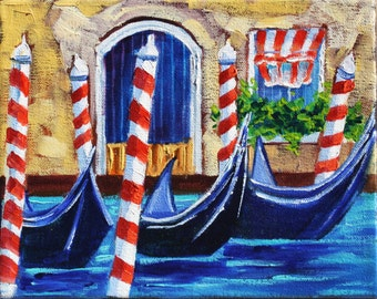 Original Oil Painting, Painting on canvas, Venice Gondola, Landscape Art by Rebecca Beal