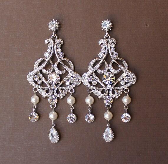 Chandelier Bridal Earrings, Crystal & Pearl Bridal Earrings, Bridal Chandelier Earrings, Statement Earrings,  Wedding Jewelry