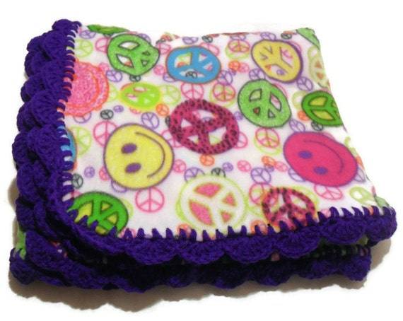 Peace Sign And Smiley Fleece Throw Blanket With By