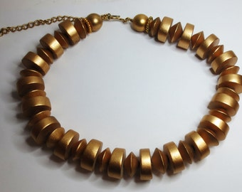 Vintage Gold Bead Chunky Necklace - Necklace - Gold Toned