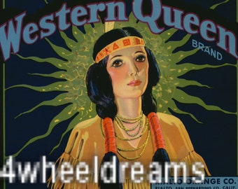 1930s Indian Maiden Doe Eyed Western Queen Native American Crate Label