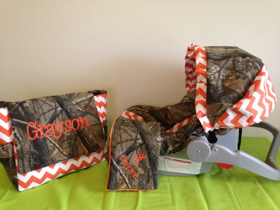 3 Piece Set Orange Chevron Amp Realtree Camo Fabric Infant Car