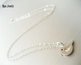 Sweet Bird Necklace, Little Bird Sterling Silver Necklace, Minimalist, Dainty, Everyday, Simple Necklace, Layer Necklace, Jewelry Gift