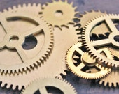 Watch Gears/Large Clock Parts - Steampunk Supply - Assemblage Art Supply - Set of 9