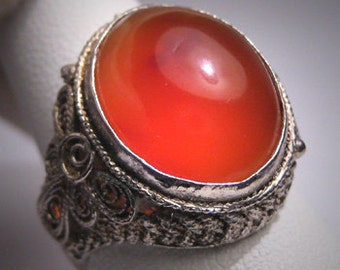 Vintage Carnelian Ring Chinese Filigree Antique Style