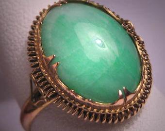 Antique Green Jade Ring Vintage Victorian 14K Gold Set
