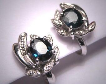 Antique Vintage Sapphire Earrings Vintage Art Deco 1950
