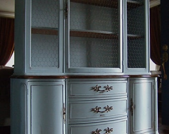 French Grey hutch with walnut stained top