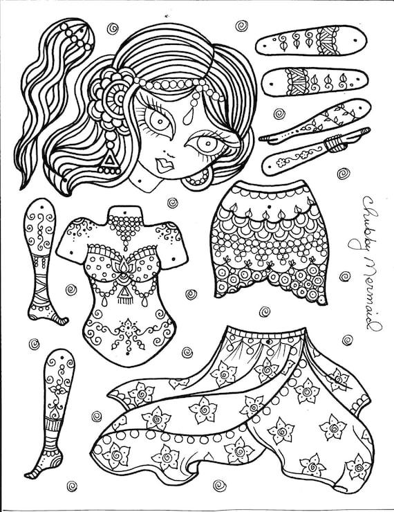 belly dancer paper doll you color and be the artist instant. Black Bedroom Furniture Sets. Home Design Ideas