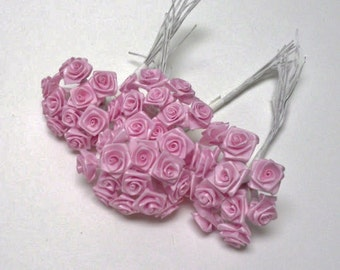 Artificial Flowers - One Lot of 144 Tiny Little Pink Ribbon Roses - VERY SMALL FLOWERS