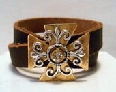 Maltese Cross, Cowgirl, Country Western Girl, Redneck Girl, Rustic, Country, Leather Wrap Cuff Bracelet Art