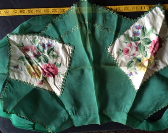 Vintage Half Panel Apron with Hunter Green Background, Meatallic Threads and Floral Pink and Yellow Rose Accents