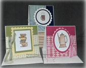 Set of 3 Coffee Themed Any Occasions Small Handmade Cards