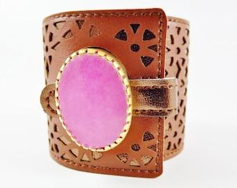 Chunky Pink Jade Gemstone Statement Cuff - Soft Geometric Laser Cut Faux Leather