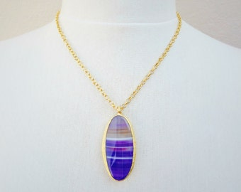 Royal Purple Agate Gemstone Necklace - Choose From 18'' 24'' or 30'' inch Chain