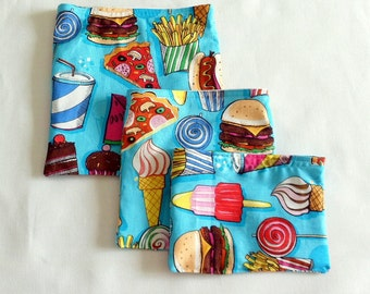 3 Lunch Bags Reusable Sandwich Bag Reusable Snack Bags Eco Friendly Lunch Sacks School Lunch Bags Teacher Gift Gift for Her Food Sacs