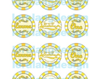 DIY Printable You Are My Sunshine Cupcake Toppers Favor Tags Party Circles