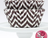 Chevron Brown GREASEPROOF Zigzag Baking Cups Cupcake Liners - Quantity 50