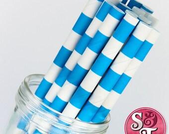 Rugby Stripe Blue Party Paper Straws - Cake Pop Sticks - Pixie Sticks - Qty 25