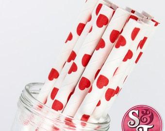 Red Hearts Party Paper Straws - Cake Pop Sticks - Pixie Sticks - Qty 25