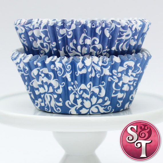 Damask Blue GREASEPROOF Baking Cups Cupcake Liners - Quantity 50
