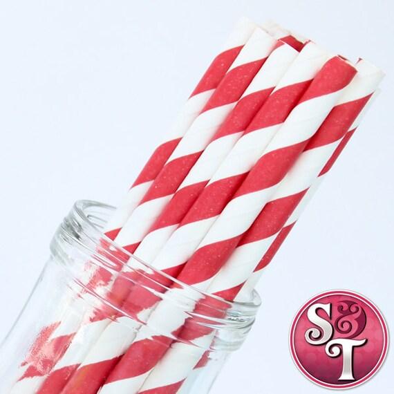Stripe Red Party Paper Straws - Cake Pop Sticks - Pixie Sticks - Qty 25
