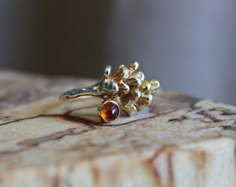 Pinecone ring with gem