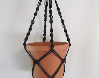 Macrame Plant Hanger 28 in Button Knot BLACK, 4mm black beads