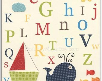 Nursery wall art, Baby room print, Nursery Decor, Art for Kids Room, Alphabet...ABC..baby whale, fish, nautical print